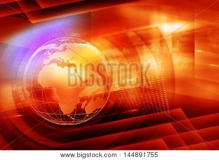 Graphical Colorful News Background, orange Theme with Earth Globe