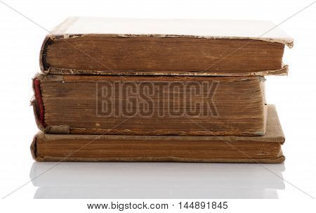 Stack of old book on wite background
