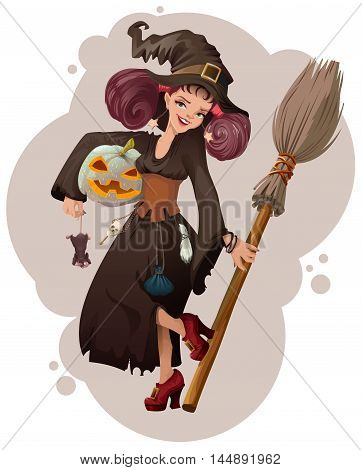 Halloween masquerade. Beautiful young woman witch holding mouse. Vector cartoon illustration