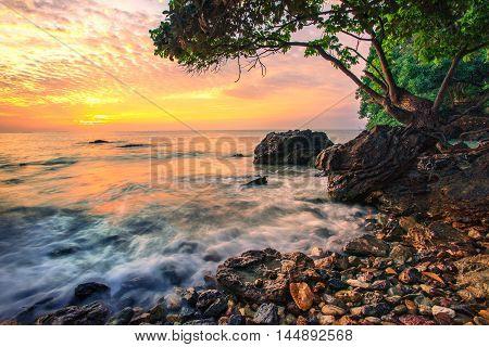 beautiful sea scape dramatic sky morning sun rising of wang kaew rayong eastern of thailand