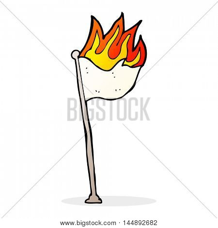 cartoon burning flag on pole