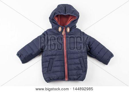 Cute children's winter jacket. Warm fashion cloth