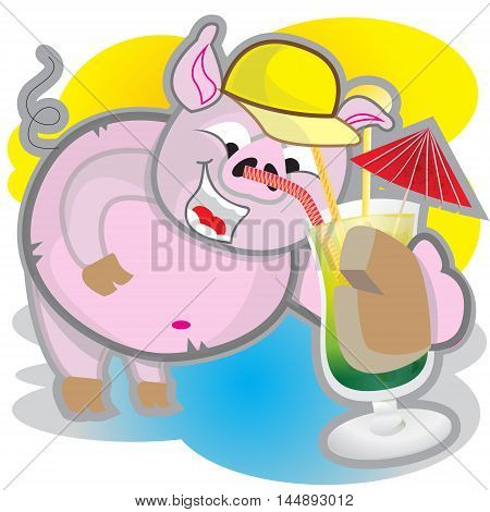 This file represents a smiling pink pig while drinking a cocktail.