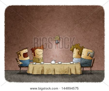Illustration of shocked parents looking at gay couple during home dinner