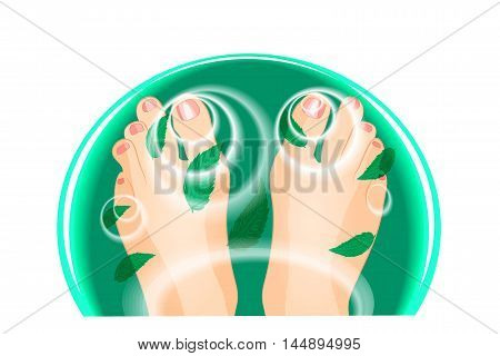 illustration of feet in a bath of water and mint leaves