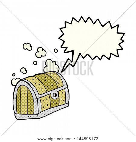 freehand drawn comic book speech bubble cartoon treasure chest