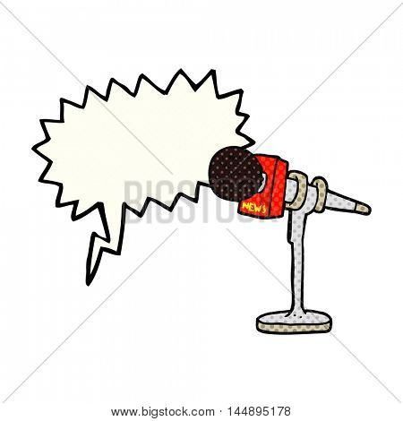freehand drawn comic book speech bubble cartoon microphone