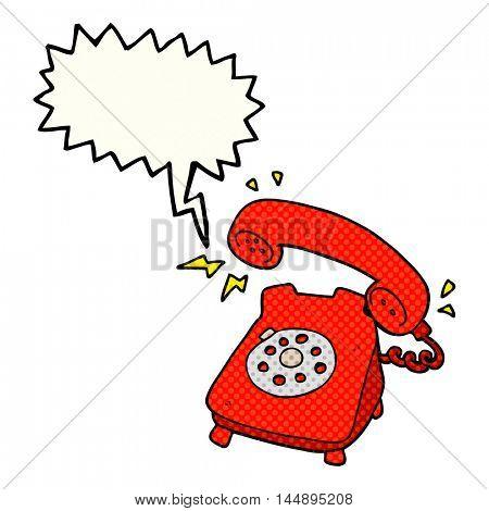 freehand drawn comic book speech bubble cartoon ringing telephone