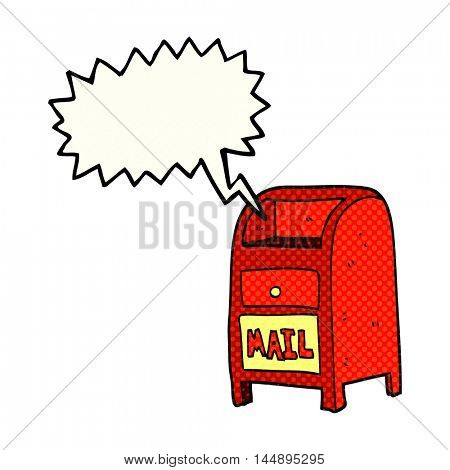 freehand drawn comic book speech bubble cartoon mail box