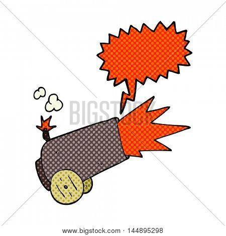 freehand drawn comic book speech bubble cartoon cannon firing