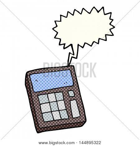 freehand drawn comic book speech bubble cartoon calculator