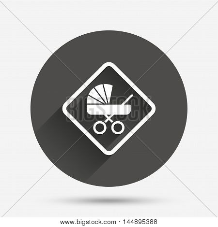 Baby on board sign icon. Infant in car caution symbol. Baby buggy carriage. Circle flat button with shadow. Vector