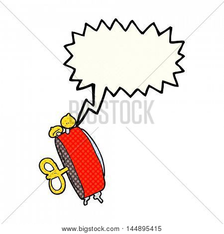freehand drawn comic book speech bubble cartoon alarm clock