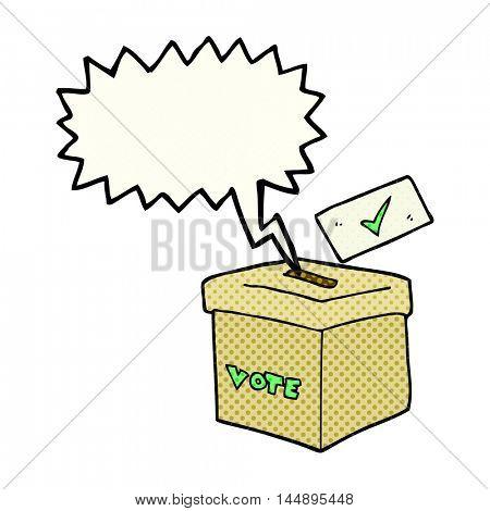 freehand drawn comic book speech bubble cartoon ballot box