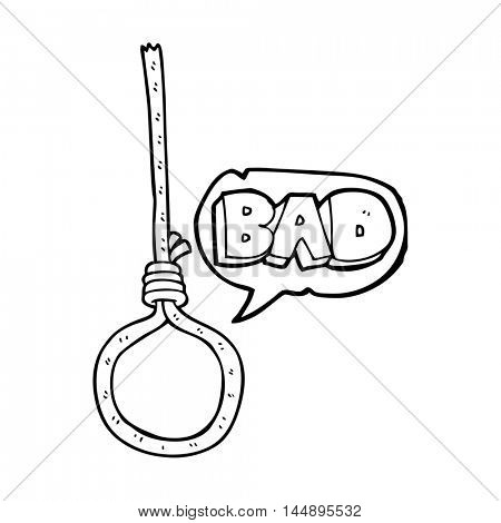 freehand drawn speech bubble cartoon noose