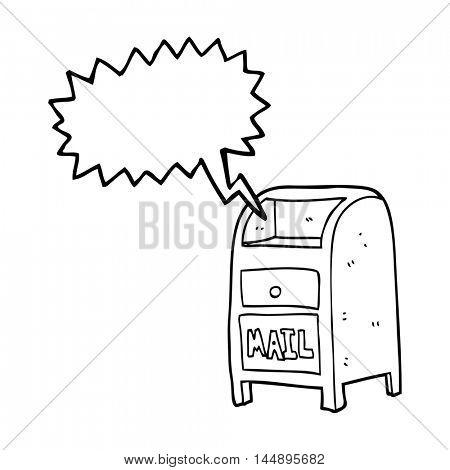 freehand drawn speech bubble cartoon mail box