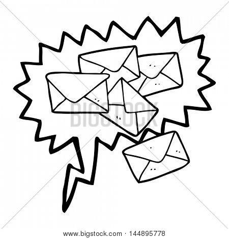 freehand drawn speech bubble cartoon letters