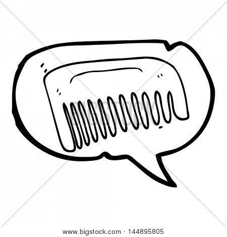 freehand drawn speech bubble cartoon comb