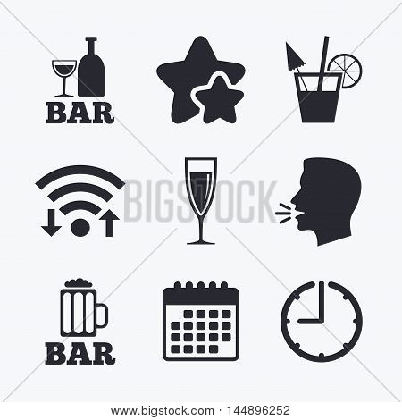 Bar or Pub icons. Glass of beer and champagne signs. Alcohol drinks and cocktail symbols. Wifi internet, favorite stars, calendar and clock. Talking head. Vector