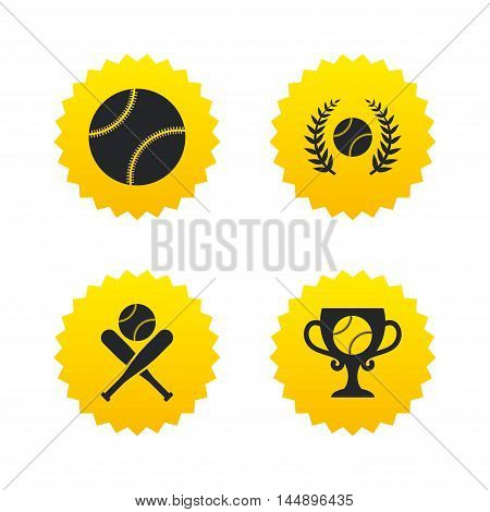 Baseball sport icons. Ball with glove and two crosswise bats signs. Winner award cup symbol. Yellow stars labels with flat icons. Vector