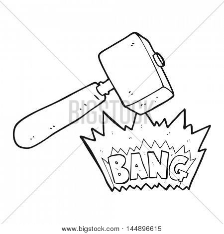 freehand drawn black and white cartoon mallet banging