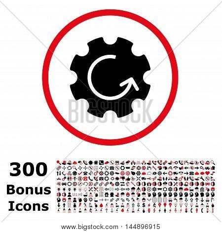 Gear Rotation rounded icon with 300 bonus icons. Glyph illustration style is flat iconic bicolor symbols, intensive red and black colors, white background.