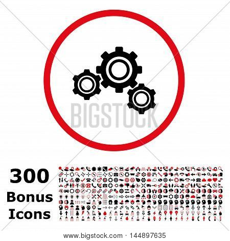 Gears rounded icon with 300 bonus icons. Glyph illustration style is flat iconic bicolor symbols, intensive red and black colors, white background.