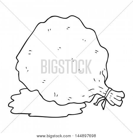 freehand drawn black and white cartoon sack of garbage