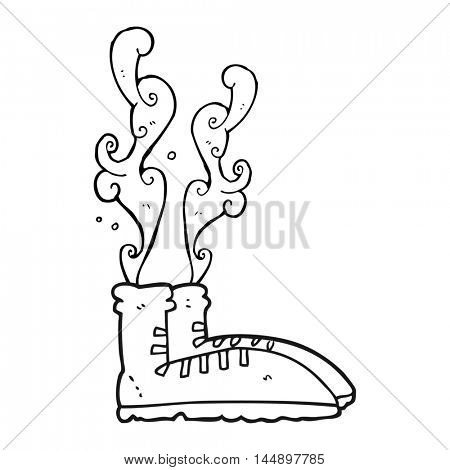 freehand drawn black and white cartoon smelly sneakers