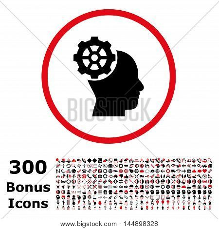 Head Gear rounded icon with 300 bonus icons. Glyph illustration style is flat iconic bicolor symbols, intensive red and black colors, white background.