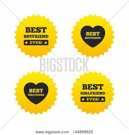 Best boyfriend and girlfriend icons. Heart love signs. Award symbol. Yellow stars labels with flat icons. Vector