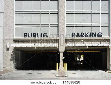 Entrance to a Public Parking deck in a city