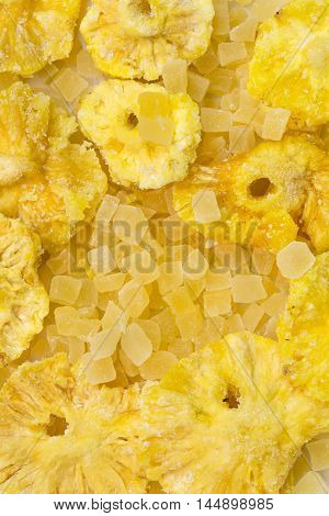 Dried pineapples take close - up background