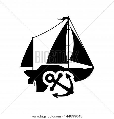 sailboat anchor transportation nautical marine silhouette icon. Flat and Isolated design. Vector illustration