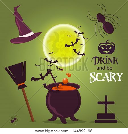 Halloween border ghost moon card dark silhouette for design. Horror celebration background halloween icons party cartoon set. Spooky moon autumn halloween october vector symbols design.