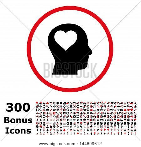 Lover Head rounded icon with 300 bonus icons. Glyph illustration style is flat iconic bicolor symbols, intensive red and black colors, white background.