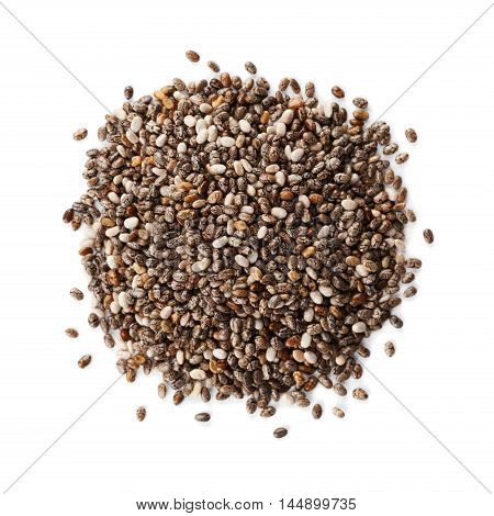 Chia seeds isolated on white background. Organic vegetarian superfood.