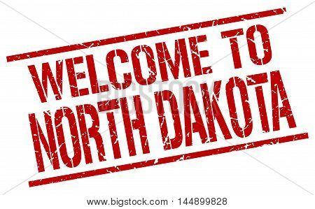 welcome to North Dakota. stamp. grunge square sign