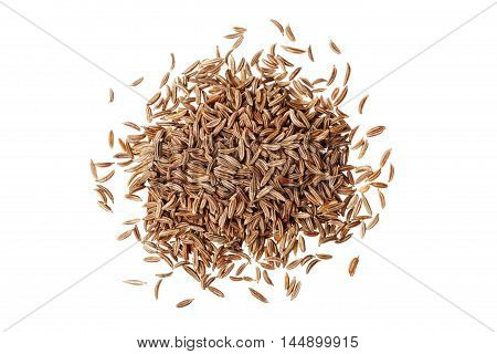 Cumin seeds or caraway isolated on white background, top view.