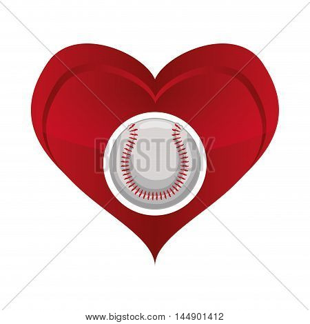 ball heart baseball sport competition game hobby icon. Flat and Isolated design. Vector illustration