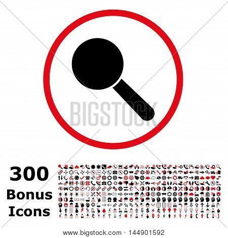 Search Tool rounded icon with 300 bonus icons. Glyph illustration style is flat iconic bicolor symbols, intensive red and black colors, white background.