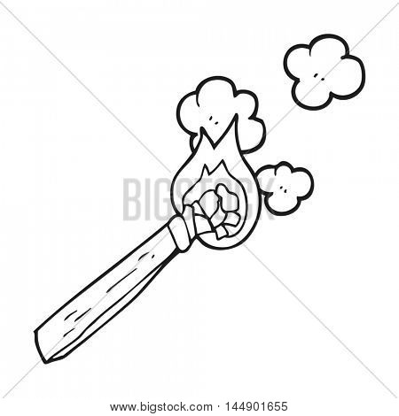 freehand drawn black and white cartoon burning wood torch