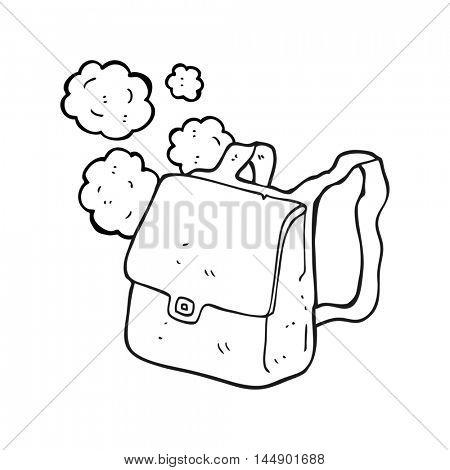 freehand drawn black and white cartoon satchel