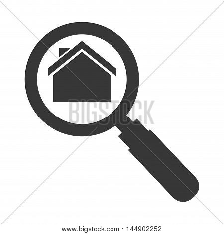 house magnifying glass real state search business vector illustration