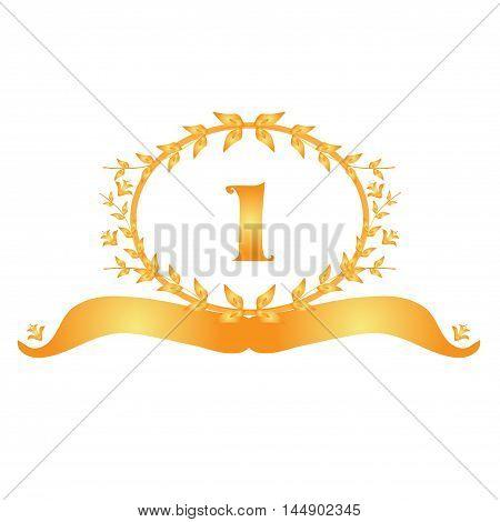 1th anniversary golden floral banner design element