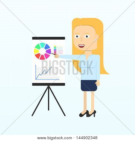 Happy businesswoman character smiling isolated in flat style. Modern woman doing a presentation and showing a graph or presenting growing business. Vector illustration.
