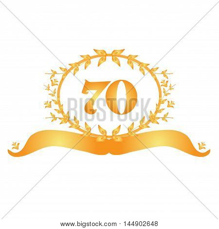 70th anniversary golden floral banner design element
