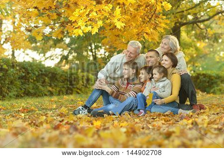 Happy smiling family relaxing in autumn park