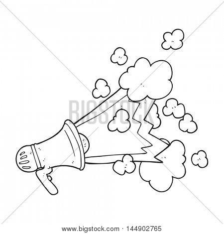 freehand drawn black and white cartoon loudhailer