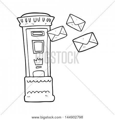 freehand drawn black and white cartoon british post box